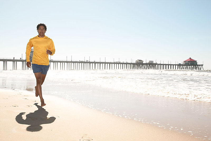 A man running on the beach