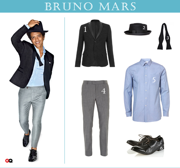Get the look of Bruno Mars for less: 1 Tuxedo jacket; 2 Fedora; 3 Bow tie; 4 Pants; 5 Shirt; 6 Shoes.