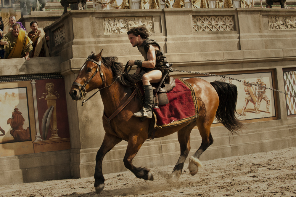 Kit Harington on horse in Pompeii